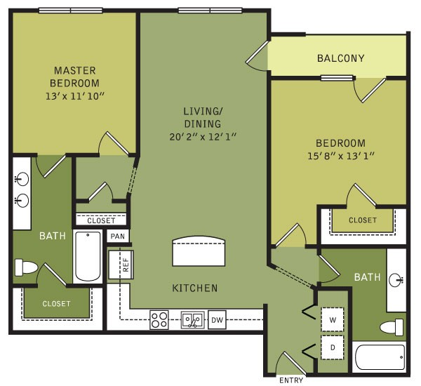 1,168 sq. ft. B4 (II) floor plan