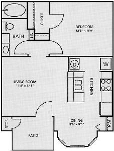 621 sq. ft. A1-Aspen floor plan