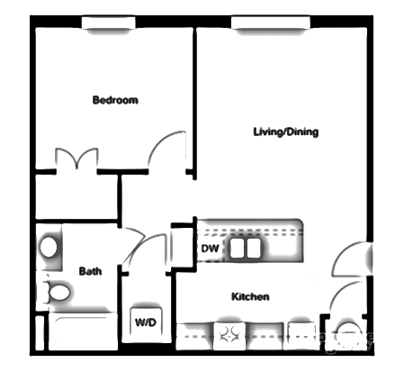 665 sq. ft. A2 floor plan