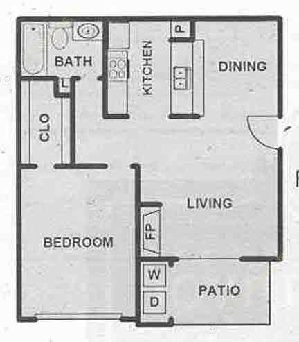 690 sq. ft. A floor plan