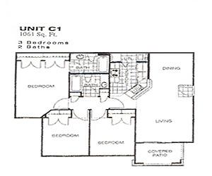 1,061 sq. ft. 50% floor plan