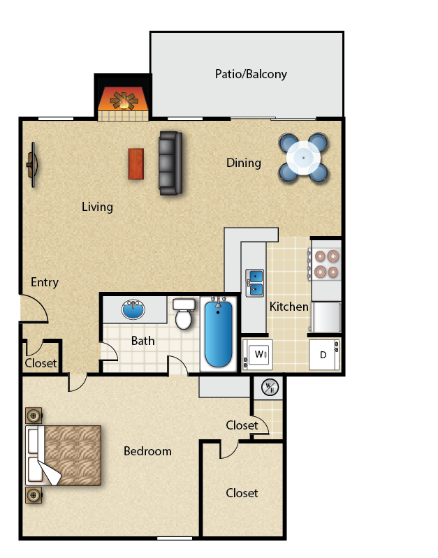 799 sq. ft. 1C floor plan