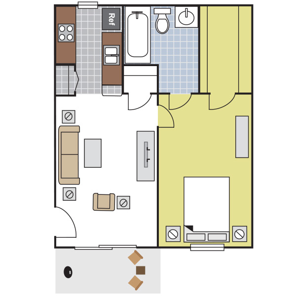 492 sq. ft. A1 floor plan