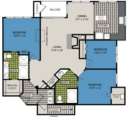 1,391 sq. ft. D1 floor plan