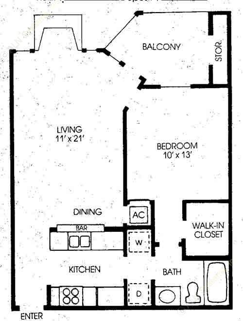 689 sq. ft. Cedar - New floor plan