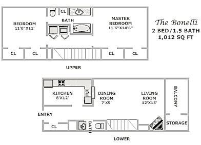 1,012 sq. ft. B2 floor plan