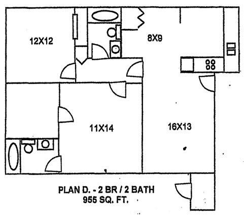 955 sq. ft. floor plan