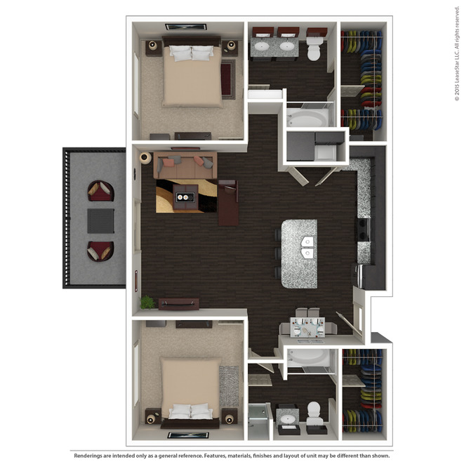 1,093 sq. ft. B5 floor plan