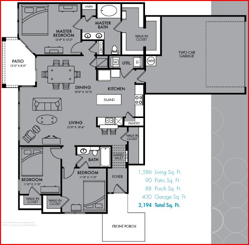 1,586 sq. ft. C1 floor plan