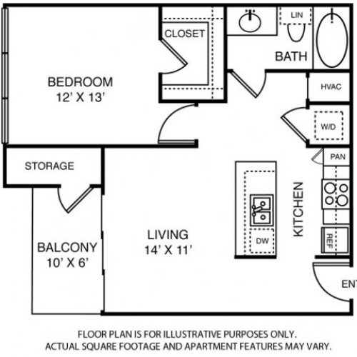 708 sq. ft. to 726 sq. ft. A2 floor plan