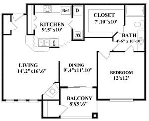 857 sq. ft. Crenshaw floor plan