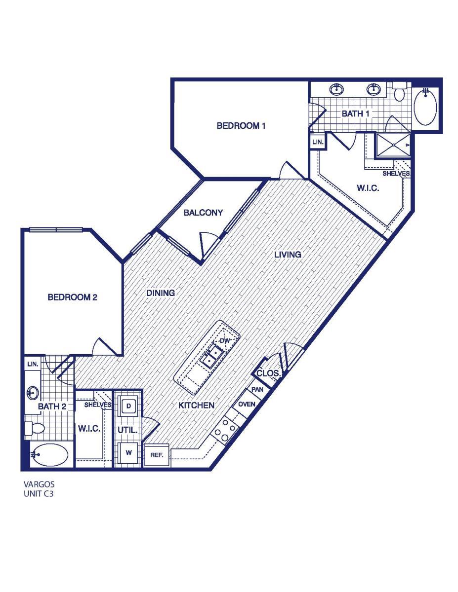 1,313 sq. ft. C3 floor plan