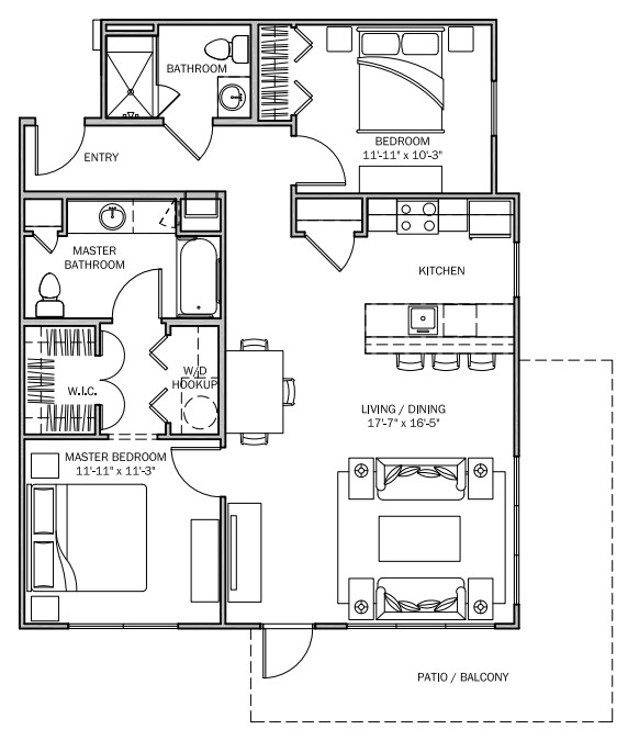 1,079 sq. ft. Lantana 60% floor plan