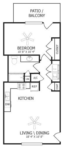 700 sq. ft. A1/Jasmine floor plan