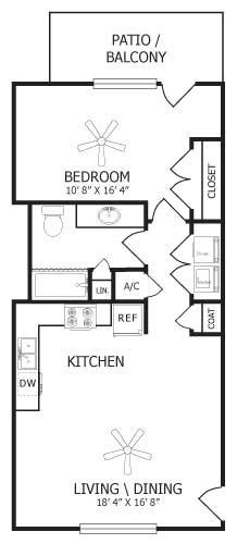 700 sq. ft. A1/Jasmine floor plan