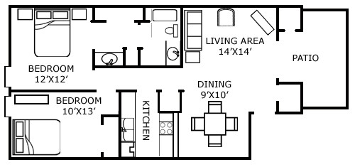916 sq. ft. E floor plan