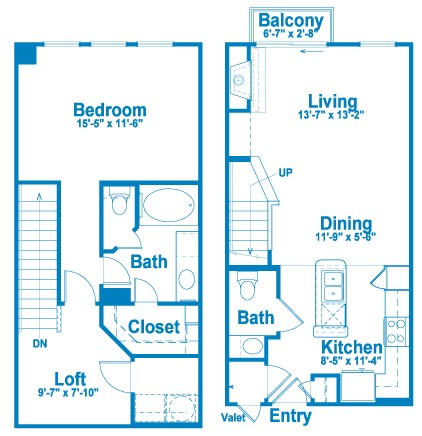 992 sq. ft. L1.2 floor plan