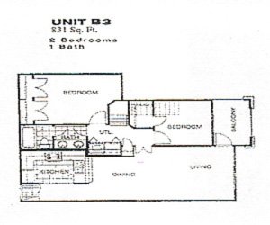 831 sq. ft. 50% floor plan