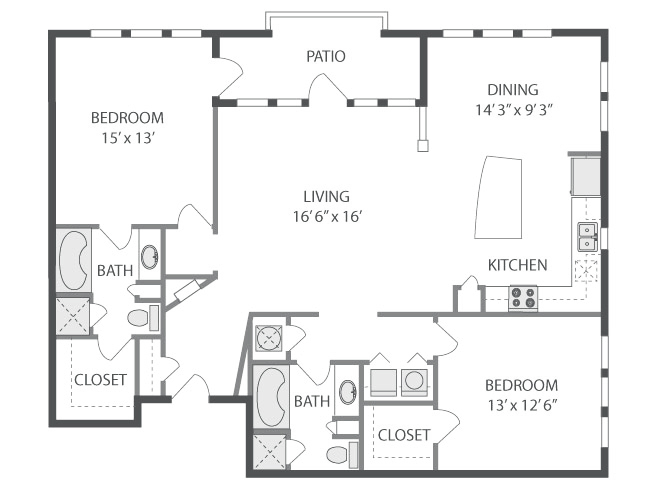 1,412 sq. ft. Swan Lake floor plan
