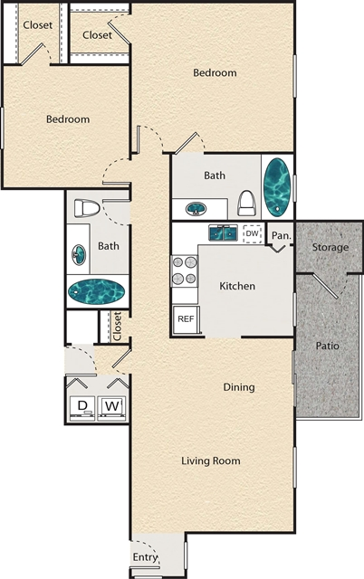 1,140 sq. ft. M - St. Andrews floor plan
