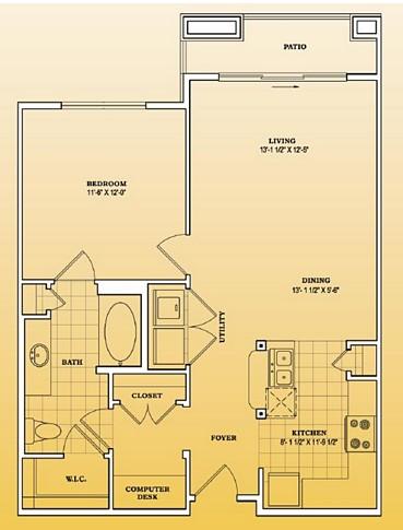 806 sq. ft. A1-401 floor plan