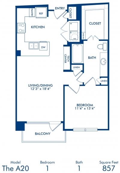 857 sq. ft. A20 floor plan