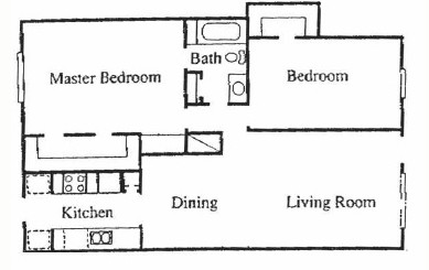 1,025 sq. ft. A floor plan