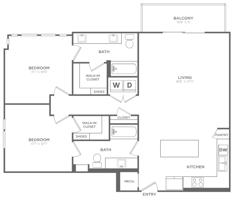 1,275 sq. ft. B2 floor plan