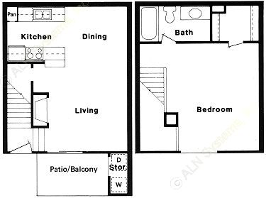 714 sq. ft. B floor plan
