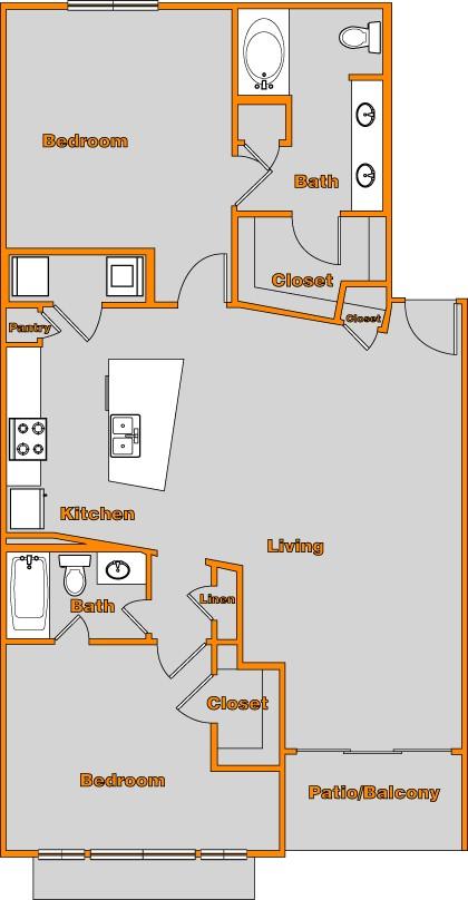 1,226 sq. ft. FLAT 1 floor plan