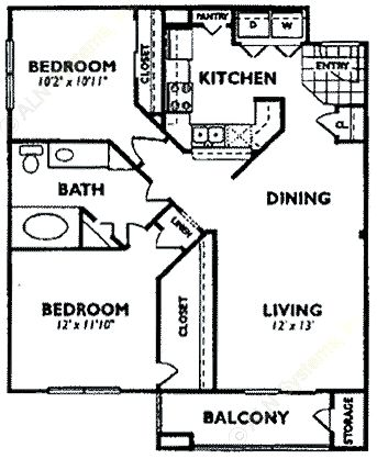 958 sq. ft. B3 floor plan