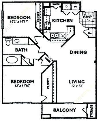 958 sq. ft. B3 floor plan