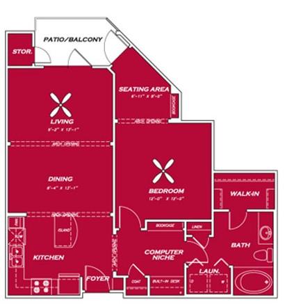 854 sq. ft. A3 floor plan