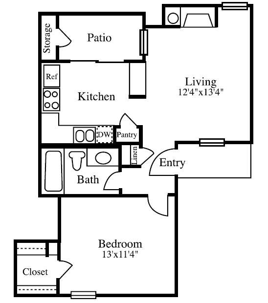 575 sq. ft. A floor plan