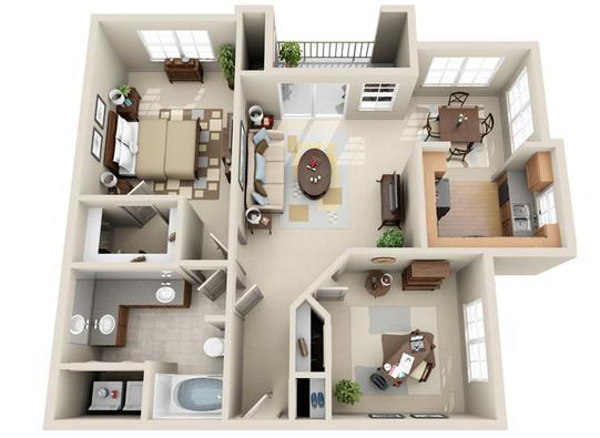 941 sq. ft. Barcelona floor plan
