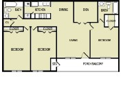 1,298 sq. ft. F floor plan