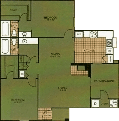 1,054 sq. ft. Copper Creek floor plan