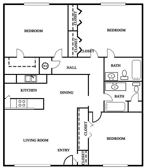 1,267 sq. ft. 50% floor plan