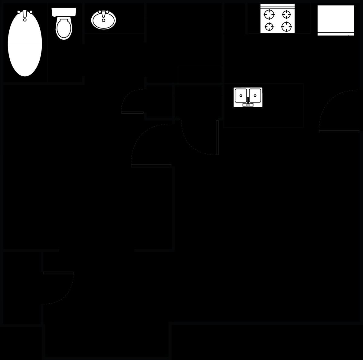 460 sq. ft. LampLighter floor plan