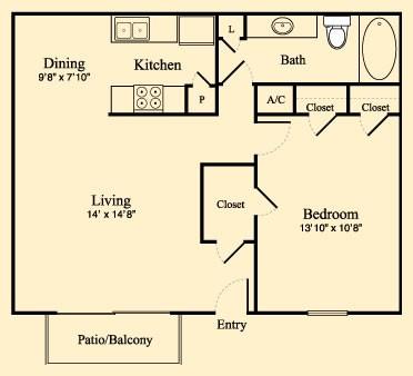 701 sq. ft. B floor plan