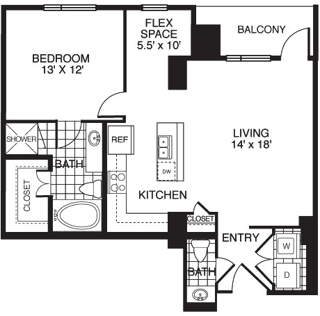 919 sq. ft. D2/TOWER floor plan