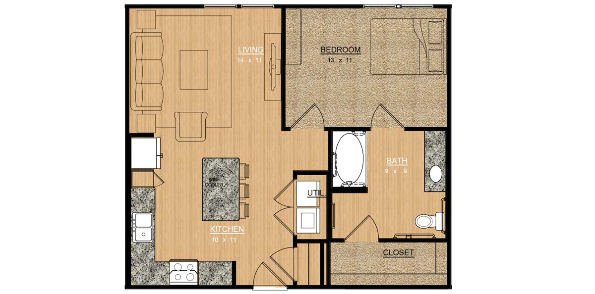 745 sq. ft. Wisteria floor plan