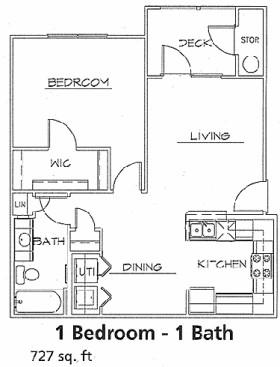 727 sq. ft. 60% floor plan