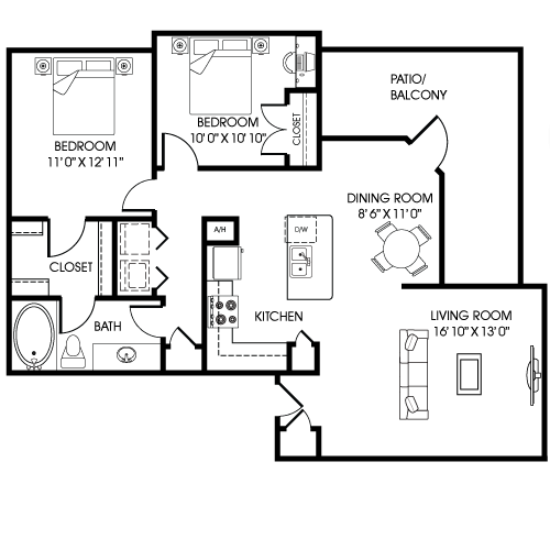 992 sq. ft. B1-A-T floor plan