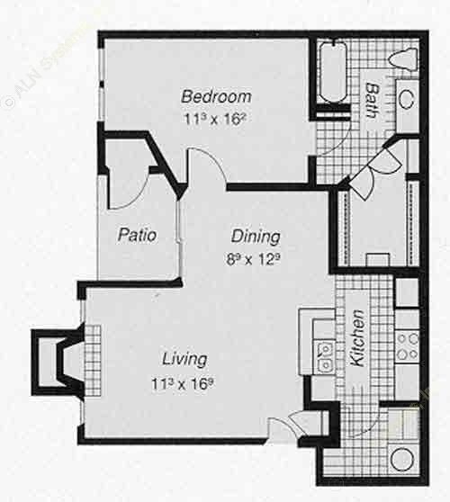 745 sq. ft. 1-B floor plan