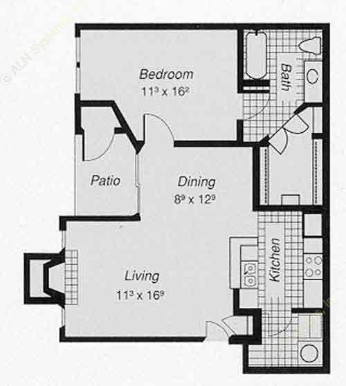 745 sq. ft. 1-B floor plan