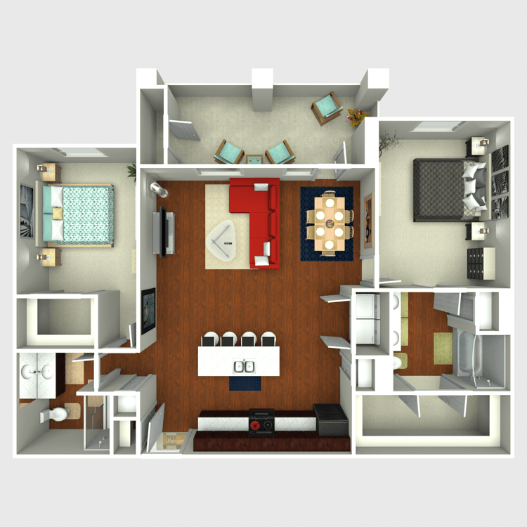1,231 sq. ft. B5 floor plan