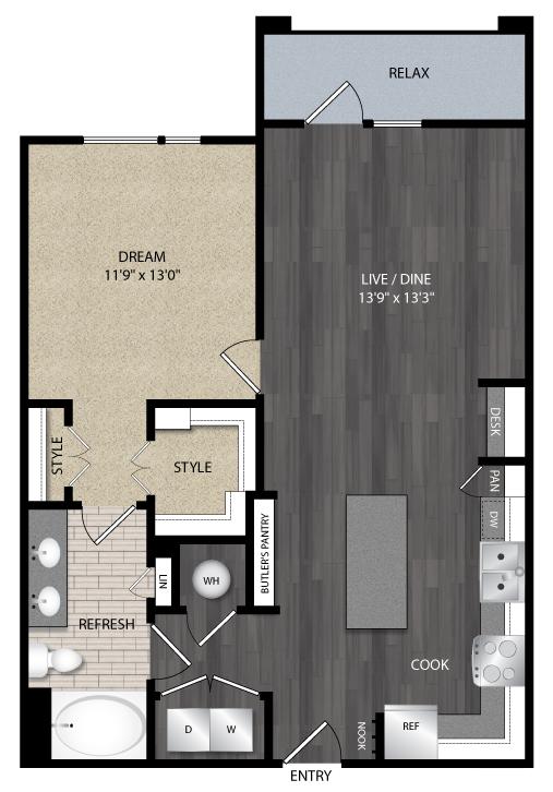 851 sq. ft. A4.2 floor plan
