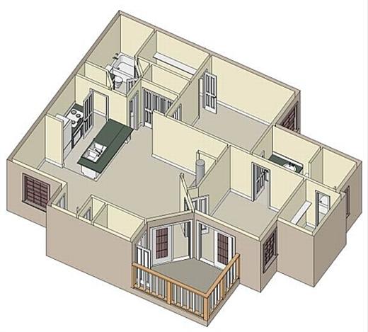 1,125 sq. ft. B2 Sunroom floor plan