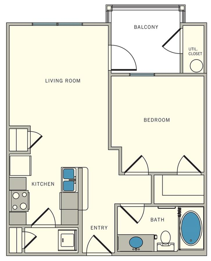 589 sq. ft. A2 floor plan
